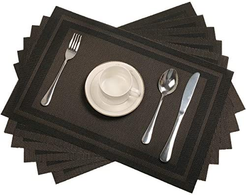 Pauwer Placemats Set of 6 for Dining Table Washable Woven Vinyl Placemat Non Slip Heat Resistant product image