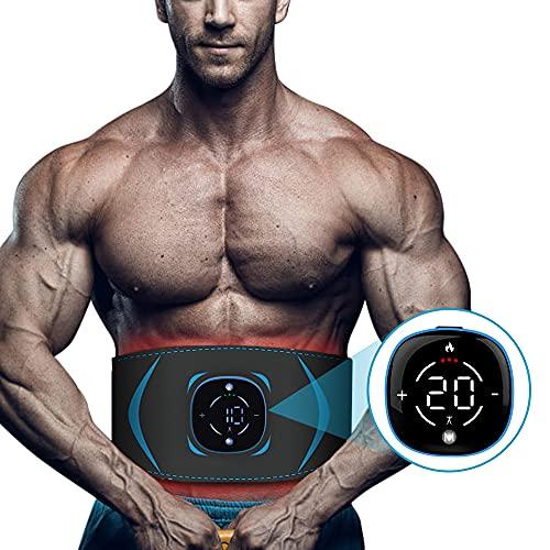 EMS 腹筋ベルト 腹筋パッド【液晶表示タッチパネル】 USB充電式 加熱式 10種類モード 20段階強度 男女兼用 ジェルシート不要