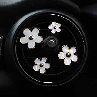 جذابیت اتومبیل INEBIZ گل های زیبا گل دیزی دکوراسیون های مخصوص تهویه هوا زیبا ، 4 عدد با اندازه های مختلف (سفید)