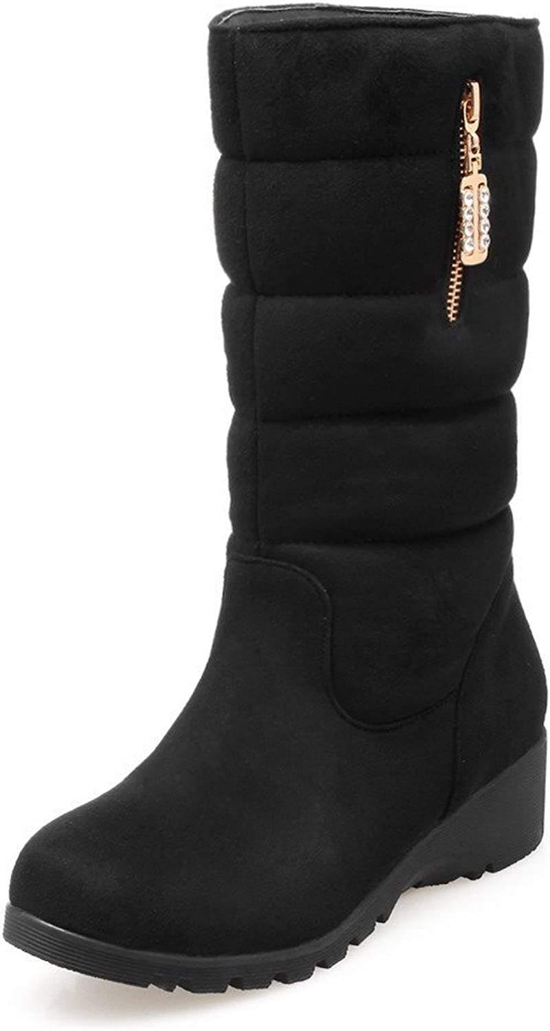 AllhqFashion Women's Mid-top Pull-on Frosted Low-Heels Round Closed Toe Boots