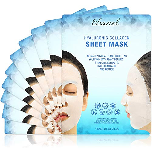 Ebanel 10 Pack Collagen Face Mask, Instant Brightening & Hydrating Face Sheet Mask with Aloe Vera, Hyaluronic Acid, Vitamin C and E, Chamomile, Anti Aging Face Mask with Hydrolyzed Collagen, Peptide