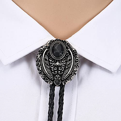 Wuyuana Bolo Krawatten Handgemachtes Leder Bolo Krawatte Turquoise Herren Frauen Frauentag Neuheit Geschenke Krawatte (Color : Black)