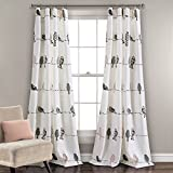 Lush Decor Rowley Birds Curtains Room Darkening Window Panel Set for Living, Dining, Bedroom (Pair), 84' L, Blush & Gray, 2 Count