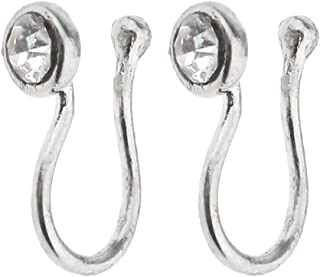 Prettyia Crystal Nose Studs And Rings Fake Nose Hoop Screw Indian Body Jewelry