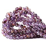 CHEAVIAN 45PCS 8mm Natural Cacoxenite Crystal Amethyst Gemstone Round Loose Beads Crystal Energy Stone Healing Power for Jewelry Making 1 Strand 15'
