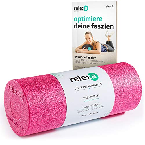 relexa 2in1 Faszienrolle, 2-teiliges Selbstmassagegerät mit herausnehmbarem Kern, mittlere Härte, Ganzkörper Foam Roller, inkl. Faszien-eBook, 35 x 14 cm (L x Ø), in Pink