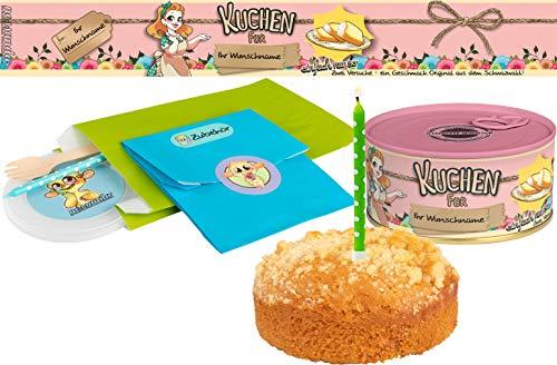 Kuchen mit Wunschnamen einfach nur so | Kuchen in der Dose | Personalisiert mit Wunschnamen und Geschmack | Geschenk | Geschenkidee (Zitrone-Streusel, Rosa)