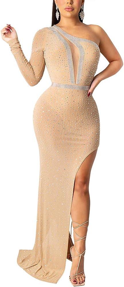 acelyn Women's Sexy One Shoulder Sheer Mesh Rhinestone High Split Elegant Irregular Formal Evening Long Maxi Dress