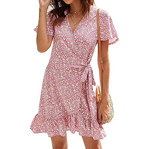 beenimed Women's Fashion Casual Short Sleeve Pocket O-Neck Print Plus Size Dress Pink
