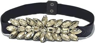 SGJFZD Women's New Rhinestone Belt Fashionable Dress Wild Crystal Beads Elastic Girdle (Color : Yellow, Size : 60-80cm)