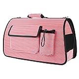 Outing Pet Box Jaula Mochila Hombro Gato y Perro Transporte Portátil de Transporte Envío de Coche 3 Color 40 * 20 * 26 cm MUMUJIN (Color : Pink Stripes)