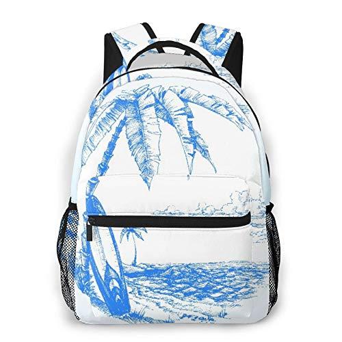 MEJX Mochila Paquete de Almacenamiento,Playa hawaiana con tabla de surf, palmera y agua del océano, azul blanco,Casual Bolsa de Estudiantes de la Escuela Mochila Portátil de Viaje