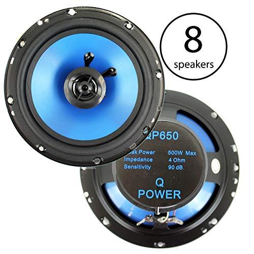 Q Power 6.5' 300 Watt 2-Way Blue Car Audio Stereo Coaxial Speakers (8 Speakers)
