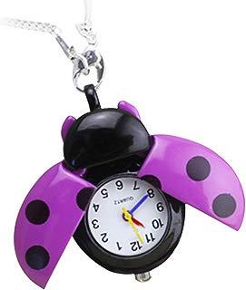 GlobalDeal Retro Beetle Ladybug Shape Quartz Pocket Watch Necklace Pendant Unisex Gifts