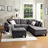 DKLGG Sectional Sofa Modern L Shape Sleeper Couches with Storage Chaise Living Room, Apartment and Small Space, Gray
