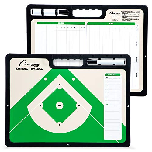 Champion Sports XL Dry Erase Board for Coaching Baseball - Whiteboards for Strategizing, Techniques, Plays - 2-Sided Game Boards with Handle - Front Side Full Feild - Backside 2-Team Lineup