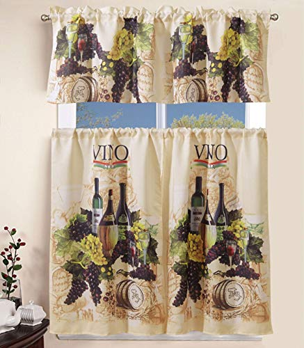 """3 Piece Kitchen Curtain Linen Set with 2 Tiers 27"""" W (Total Width 54"""") x 36"""" L and 1 Tailored Valance 54"""" W x 15"""" L, Amalfi Vineyard Grapes Design Kitchen Curtain Décor Linen"""