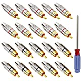 QitinDasen 20Pcs Premium Spine Maschio RCA, Connettore Audio Video Spina RCA Placcato Oro, Adattatore Spina Maschio RCA Senza Saldatura, per Multimedia e CCTV (Cerchio Rosso e Nero)