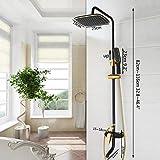 LINXYU Juego de ducha, chapado en oro negro montado en la pared de baño conjunto de ducha de grifo giratorio cabezal de ducha de baño ahorro de agua de alta presión, set de Showet 6