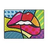 Orediy Weiche Teppiche Pop Art Lips Leichter Bereich Teppich Kinder Spielmatte Rutschfest Yoga Kinderzimmer Teppich für Wohnzimmer Schlafzimmer, Schaumstoff, Multi, 160 x 122 cm