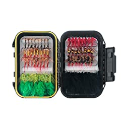 Attention Please: New package(black box) or old package(clear box) sent at RANDOMLY. FISHINGSIR large selection of flies includes trusted patterns (such as Adams, Woolly Bugger, Elk Hair Caddis, Griffith's Gnat, Stimulator, Egg Fly, etc.) used by ang...