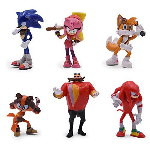 HYHSM Sonic 6Pcs / Set Puppe Anime Figur Spielzeug 4. Generation Boom Selten Dr. Eggman Shadow PVC Spielzeug für Kinder Charaktere Geschenk 4-7cm