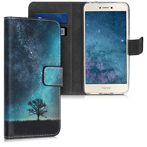 kwmobile Hülle kompatibel mit Huawei P8 Lite (2017) - Kunstleder Wallet Hülle mit Kartenfächern Stand Galaxie Baum Wiese Blau Grau Schwarz