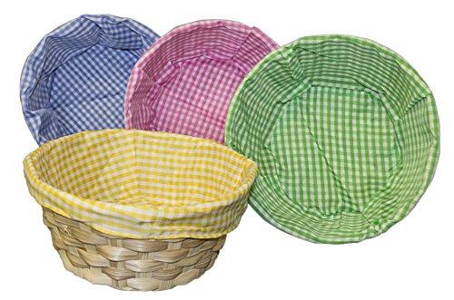 Idena 10043359 10043359-Osterkorb mit Stoffeinlage, farbig Sortiert