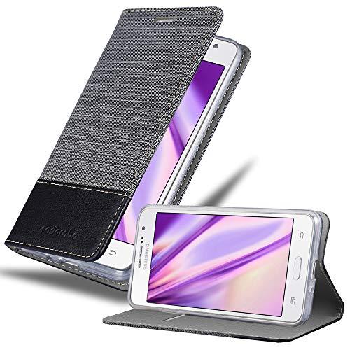 Cadorabo Hülle für Samsung Galaxy Grand Prime - Hülle in GRAU SCHWARZ – Handyhülle mit Standfunktion & Kartenfach im Stoff Design - Hülle Cover Schutzhülle Etui Tasche Book