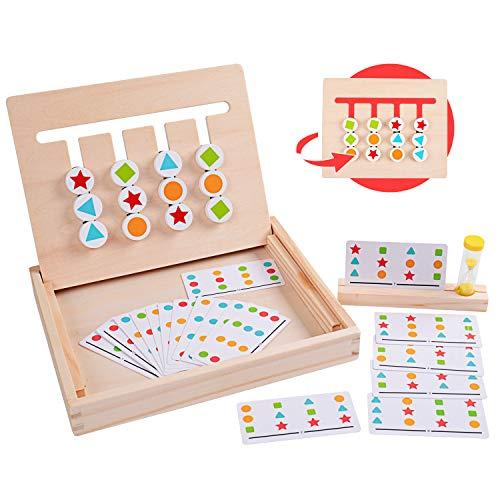 Rolimate Holzpuzzle Vorschule Lernspielzeug, Montessori Spielzeug Sortieren Puzzle, 4 Farbform-Matching-Spiel Brain Teaser Logikspiele Pädagogische Holzspielzeug, 3 4 5 6+ Jahre