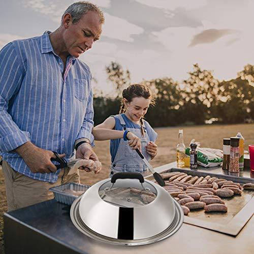 51OUu7KqgSL. SL500  - Grillzubehör-Set, kompatibel mit Blackstone und Camp Chef, flache Oberseite, Grillschaber mit Schmelzkuppel für Kochen im Freien, Teppanyaki, Hibachi, BBQ (Holzgriff)