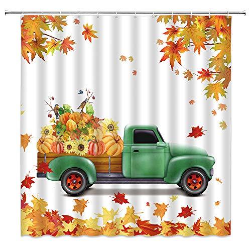Herbst-Kürbis-Duschvorhang, Bauernhaus-Stil, grün, LKWs, pralle Kürbisse, Sonnenblume, Ahornblatt-Duschvorhänge, Thanksgiving-Dekor, Stoff-Badezimmer-Set mit Haken, 177 x 177 cm, grün-gelb