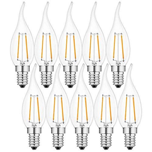 10 x LED Filament Leuchtmittel Windstoß Kerze 2W fast 25W E14 klar warmweiß 2700K (2 Watt Windstoß klar, 10 Stück)