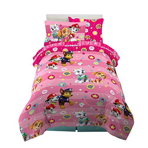 Franco Kids Bedding Super Soft Comforter and Sheet Set with Sham, 5 Piece Twin Size, Paw Patrol Girls