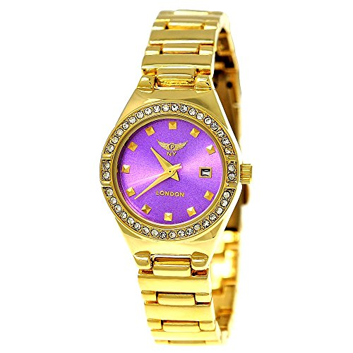 Kleine Elegante Ny London Damen-Uhr Strass Analog Quarz Armband-Uhr in Gold Lila mit Datumsanzeige