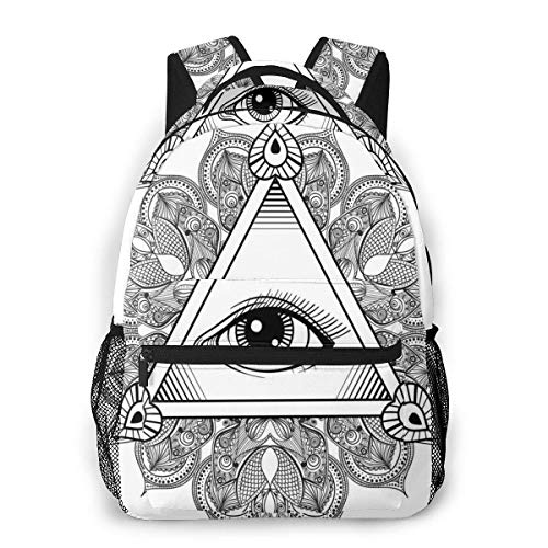Lawenp School Backpacks Vintage All Seeing Eye in Tattoo Symbol with Boho Mandala Providence Spirit Occultism Theme for Teen Girls&Boys 16 Inch Student Bookbags Laptop Casual Rucksack