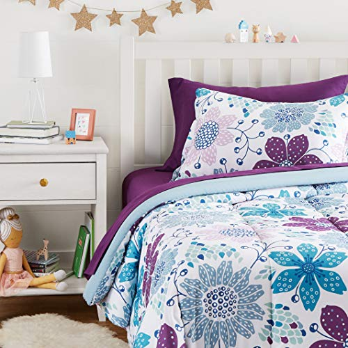 Amazon Basics Easy Care Super Soft Microfiber Kid's Bed-in-a-Bag Bedding Set - Twin, Purple Flowers