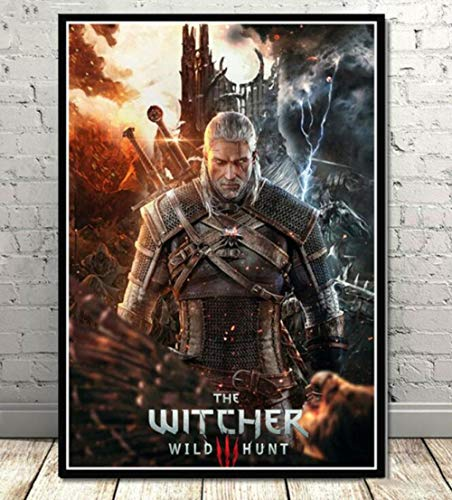Impresiones sobre Lienzo 1 Unidades Witcher Hunting Poster Wall Art Modern Painting Game Impreso Living Room Home Decor (50x70cm) Sin Marco