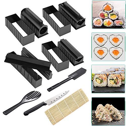 Sushi Making Kit, Deluxe Edition Roll Sushi Set fai da te con coltello da sushi e manuale utente e tappetino in bambù, facile e divertente strumento Sushi Roller per principianti