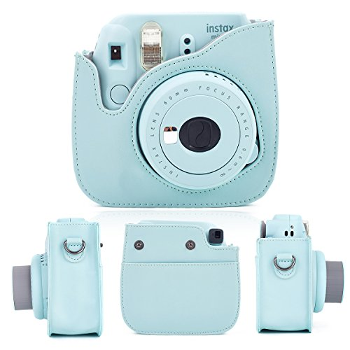 Leebotree Ice Blue Protective Case Compatible with Mini 9 Mini 8 Mini 8+, Soft PU Leather Bag with Pocket and Removable Shoulder Strap(Ice Blue)