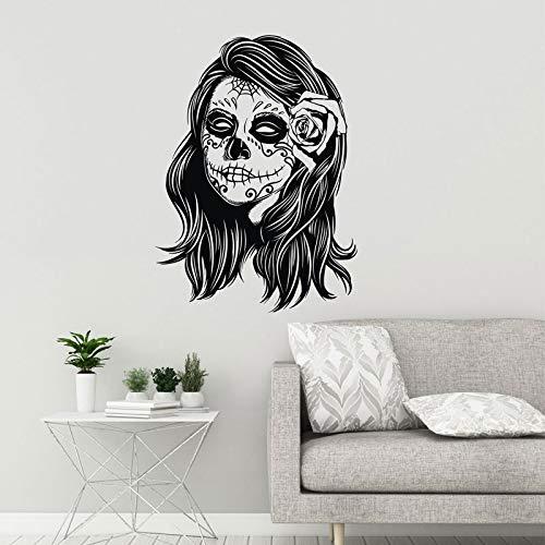 Zuckerschädel Vinyl Wandtattoo Zombie Mädchen Calaveras Make-up Tag der toten Aufkleber Wandbild entfernbar nach Hause kreative Dekoration Tapete A3 42x58cm