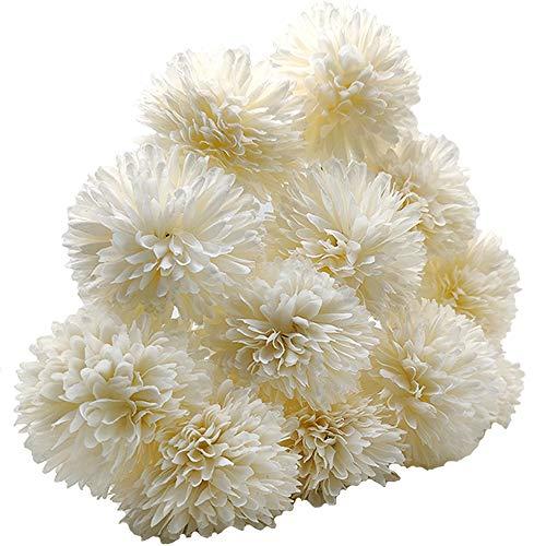 Aisamco 12 Pezzi di Fiori di Palla di crisantemo Artificiale con steli Disposizione di ortensie di Seta Bouquet di Fiori Artificiali per Ufficio a casa caffè Feste e Decorazioni per Matrimoni