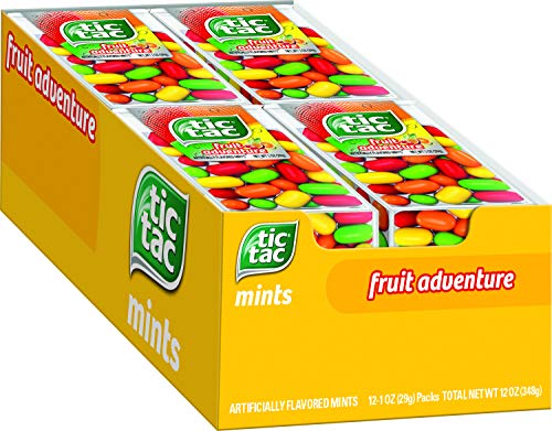 Tic Tac Fresh Breath Mints, Fruit Adventure, Bulk Hard Candy Mints, 1 oz Singles, 12 Count, Perfect Easter Basket Stuffers for Boys and Girls by Ferrero USA