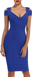 whoinshop Women's Rayon Sexy V Neck Bodycon Clubwear Party Bandage Dress