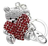 Quadiva Oso de peluche con corazón para mujer, adorno para bolso de mano, colgante de osito con corazón (color plateado/rojo) decorado con cristales
