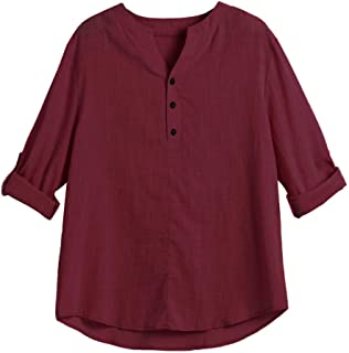 7021a6e3581c Godathe Mens Henley Shirt Long Sleeve Plus Size Casual Leisure Beach Yoga  Loose Comfy Tops Blouse