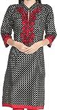 Gestickte Indien-Kleidungs-Baumwolllange Oberseite-Bluse für Frauen