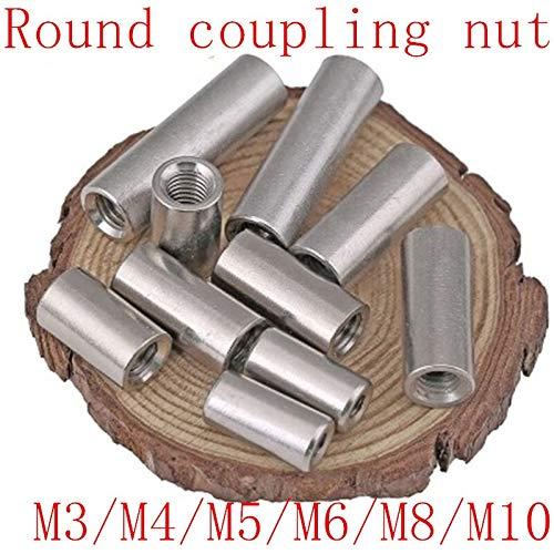 NO LOGO XJB-LMLS, 5pcs M4 M5 M6 M8 M10 Lange Stange Kupplung Rundmutter Edelstahl 304 Grad Gewindemutter for Connect Führungsgewinde (Größe : M8x40)