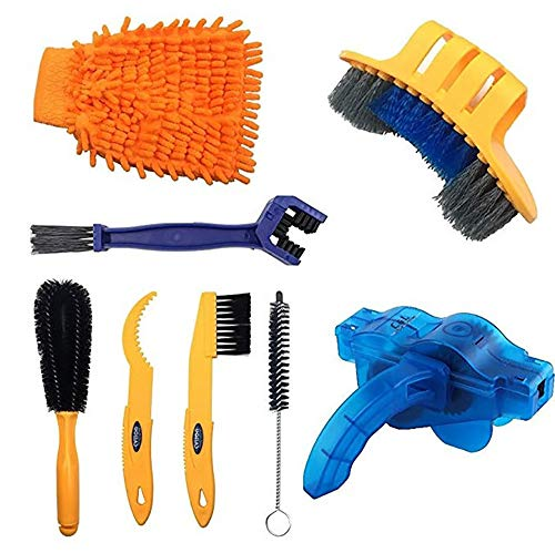 N \ A 8PCS Bicycle Cleaning Tool Kit, Including Bike Cleaning Brush,Bike Chain Cleaner,Suitable for Mountain, Road, City, Hybrid,BMX Bike,Folding Bike