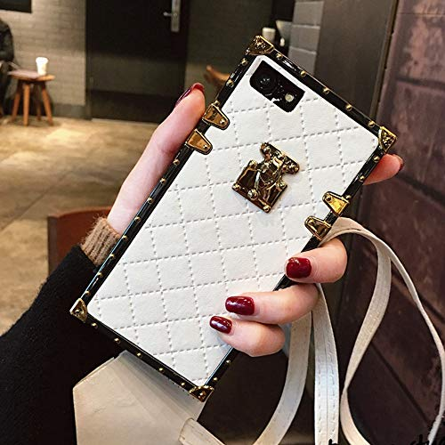 "BABEMALL Compatible for iPhone 11 PRO MAX 6.5"" inch Case, Elegant Diamond Luxury Corner Square PU Leather Classic Slim Anti-Scratch Case + Lanyard (Small Cube/White)"